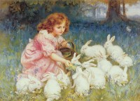 Frederick Morgan - ' Feeding the Rabbits' of ' Alice in Wonderland' ± 1904 / Bron: Frederick Morgan / Wikimedia Commons